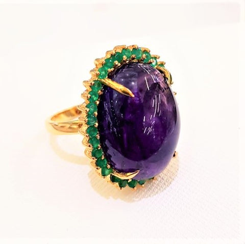 Amethyst & Green Agate Cocktail Ring