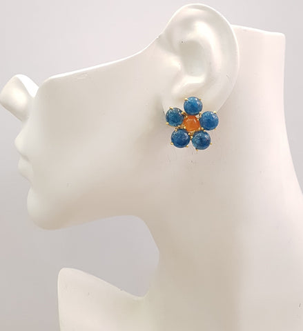 Apatitie & Carnelian Bloom Earrings