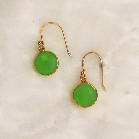 Apple Green Chalcedony Single Drop Hook Earrings