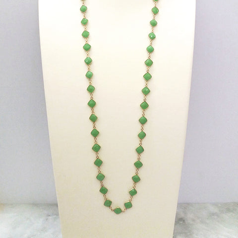 Apple Green Chalcedony Jeweled Chain Necklace