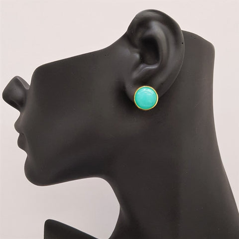 Aquagreen Jade Simple Gemstone Stud Earrings