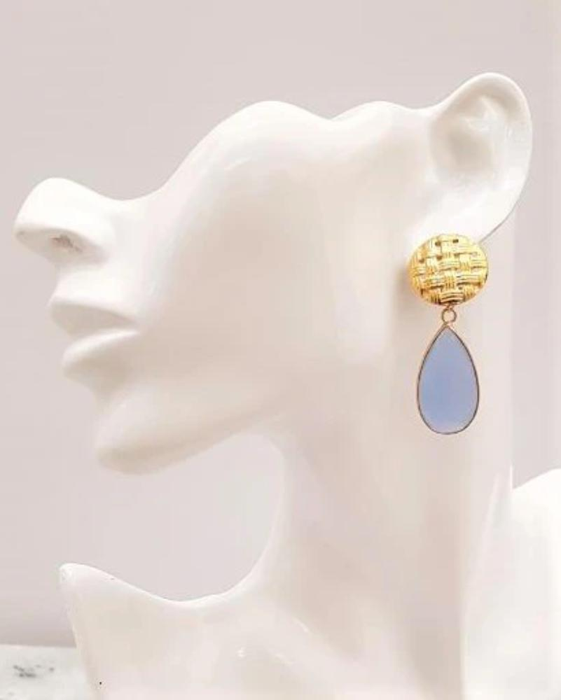 Banig 2 Studs with Blue Chalcedony Earrings