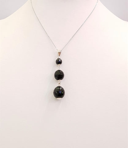 Black Agate 3 Tier Ball Pendant