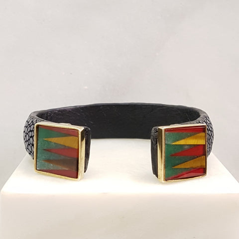 Stingray Cuffs with Double Gemstones Inlay Accents (15mm width)