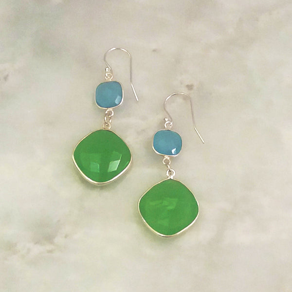 Blue Agate and Apple Green Chalcedony Double Drop Earrings