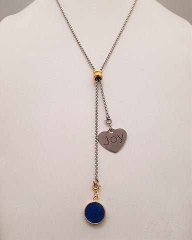 Blue Agate with Love Affirmation Slider Necklace 2 Tone