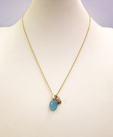 Blue Chalcedony with Ladybug Single Gemstone Pendant