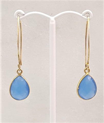 Blue Agate Single Gem Drop V-hook Earrings
