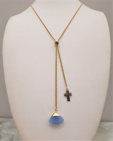 Blue Jade Fan Cross Affirmation Slider Necklace