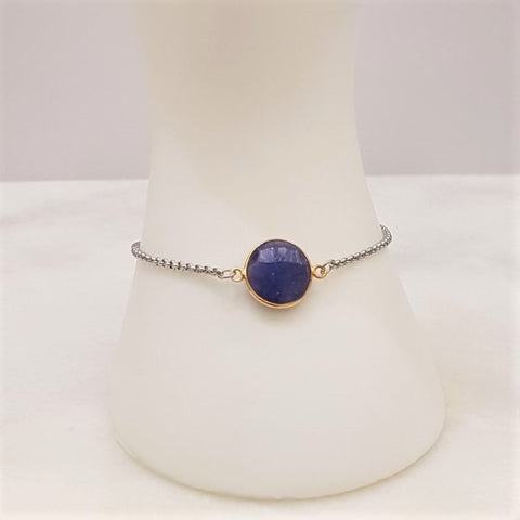 Blue Sapphire with 2 Crosses Jeweled Slider Bracelet