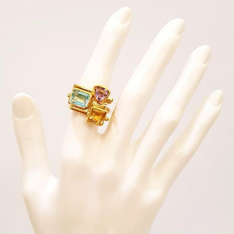 Blue Topaz Maxi Cube Ring