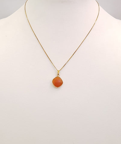 Carnelian Cushion cut Single Stone Pendant