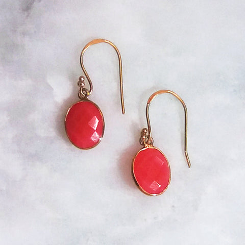 Carnelian Single Drop Hook Earrings