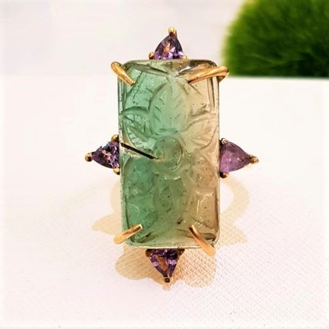 Carved Green Tourmaline & Amethyst Cocktail Ring