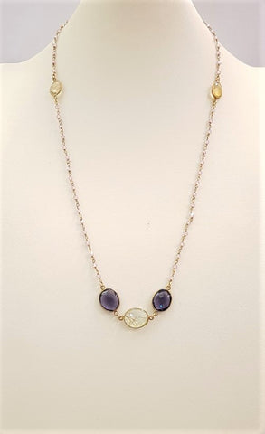 Citrine, Iolite and Rutilated Quartz Station Necklace