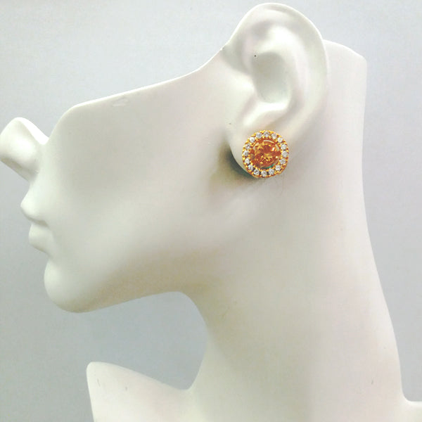 Citrine Round & White Zircon Earring Jacket Separates Earrings