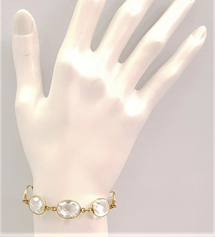 Oval Clear Quartz 5 Stone Bracelet