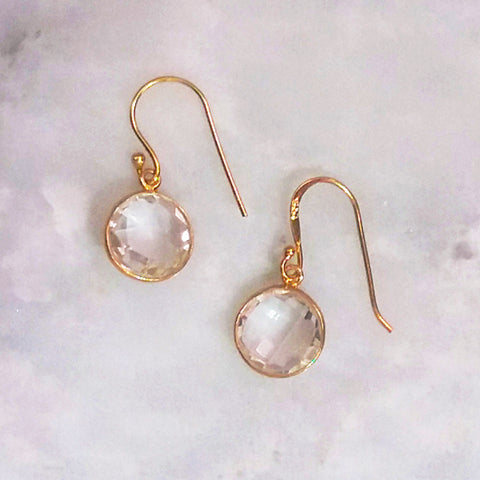 Clear Quartz Single Drop Hook Earrings