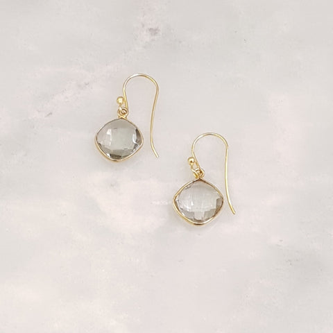 Green Amethyst Single Drop Hook Earrings