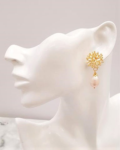 Coral with Baroque Pearls Stud Earrings