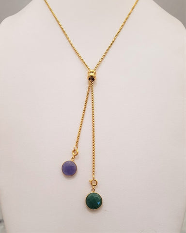 Blue Sapphire and Emerald Affirmation Slider Necklace 2 Tone