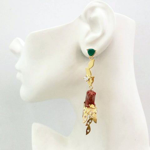 'Foliage' Twinset Earrings with Green Agate, White Topaz & Red Jasper carved Bear