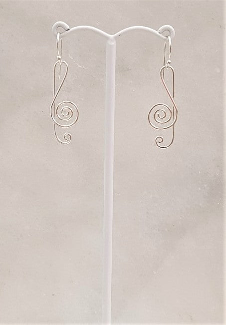 G Cleft Silver Earrings