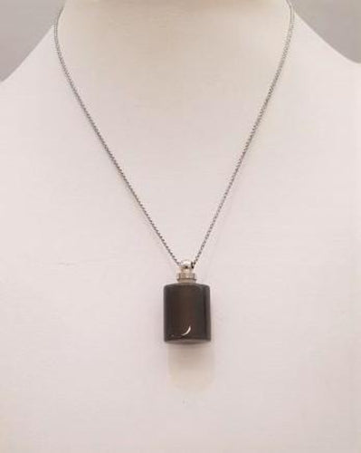 Dark Gray Agate Square Essential Oil Bottle Pendant