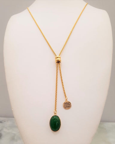 Green Jade Be Brave Affirmation Slider Necklace