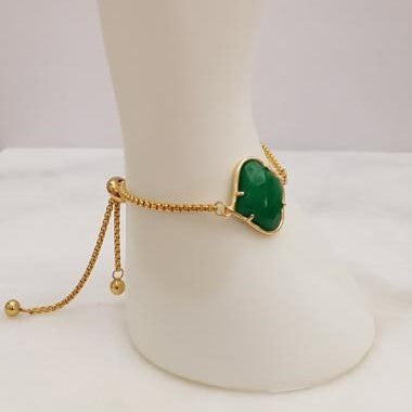 Alhambra cut Green Jade Jeweled Slider Bracelet