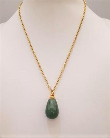 Green Jade Teardrop Wellness Bottle Pendant Gold