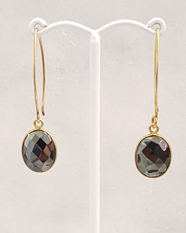 Hematite Single Gem Drop V-hook Earrings