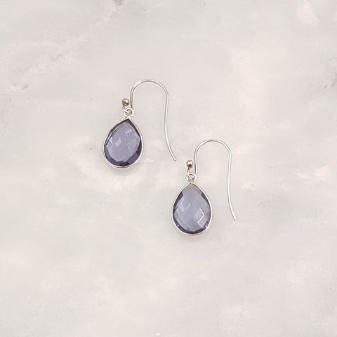 Iolite Single Drop Hook Earrings