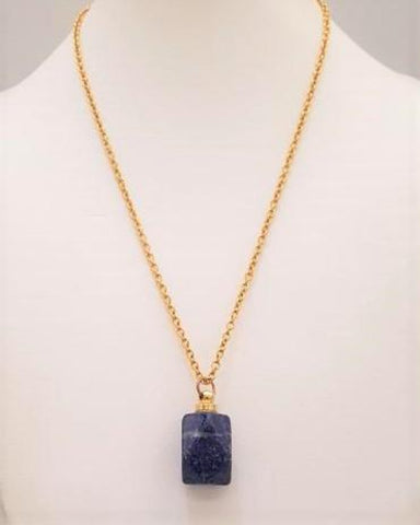 Sodalite Faceted Rectangle Bottle Pendant Gold