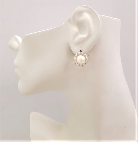 White Pearl framed with leaf Silver Stud Earrings