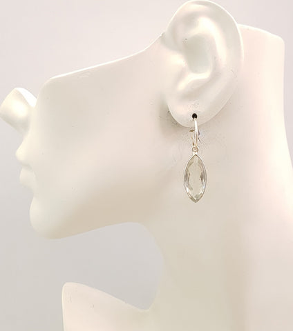 Green Amethyst Single Gem Drop Small Hoop Earrings