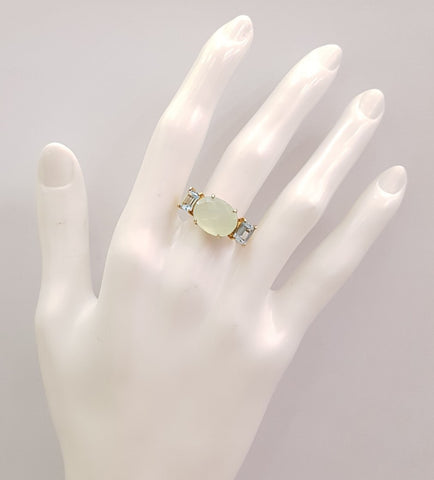 Mint Chalcedony and Blue Topaz Cocktail Ring