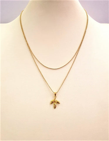 Olive Leaf Pendant Double Chain