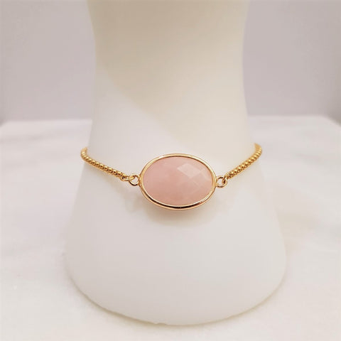 Rose Quartz Jeweled Slider Bracelet