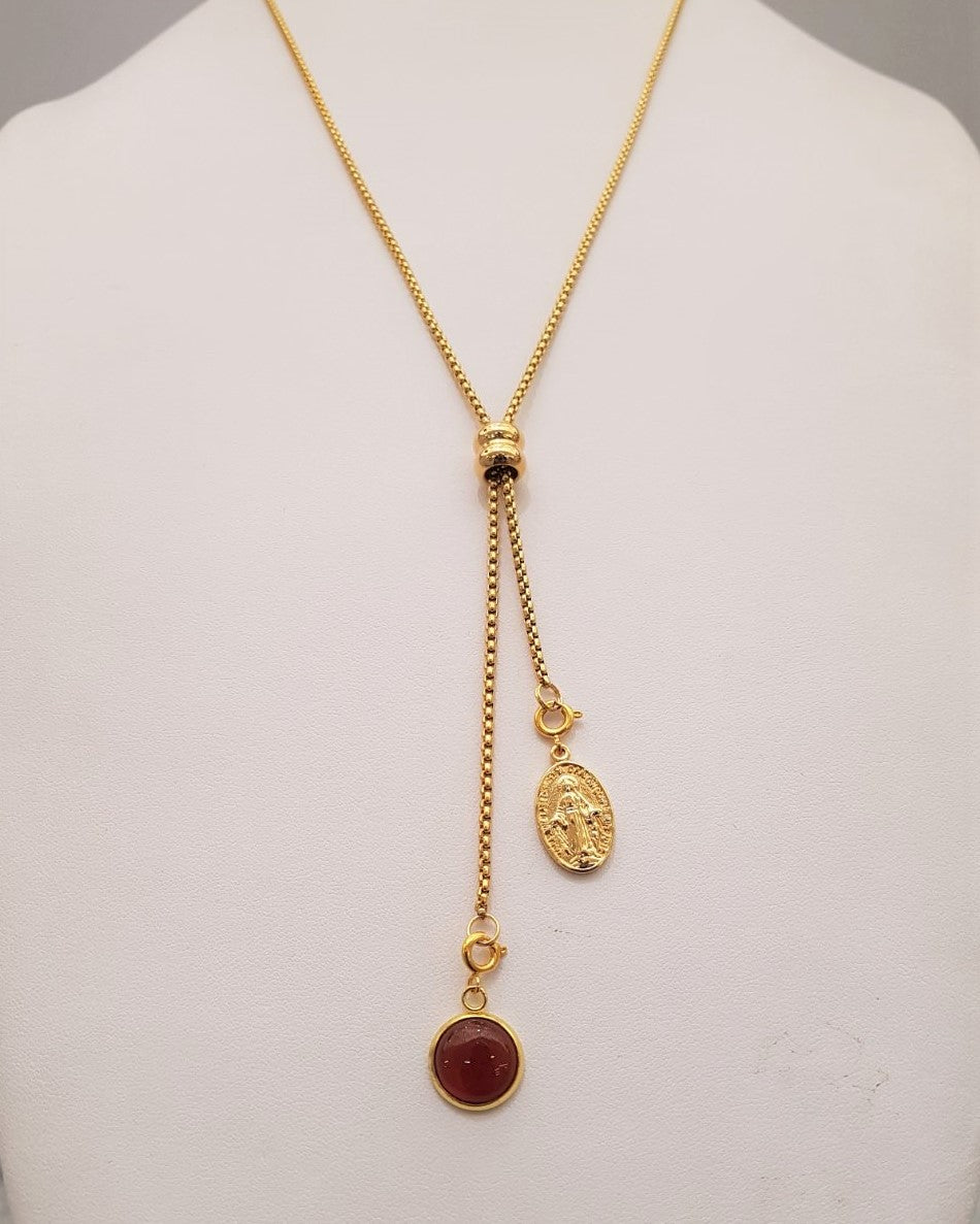Red Carnelian and Miraculous Medal Affirmation Slider Necklace 2 Tone