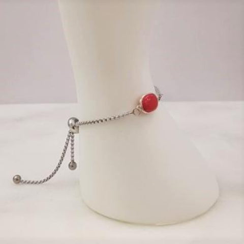Red Coral Jeweled Slider Bracelet