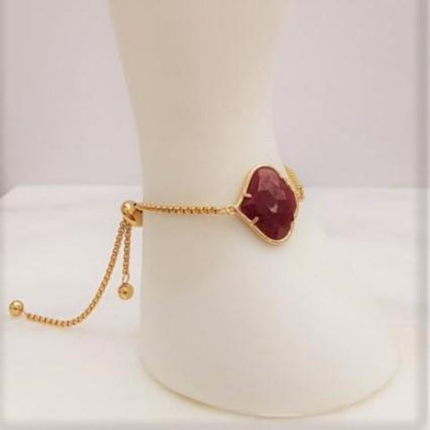 Alhambra cut Red Jade Jeweled Slider Bracelet