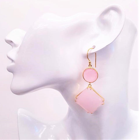 Rose Quartz Double Drop Earrings