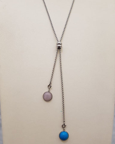 Rose Quartz & Turquoise Affirmation Slider Necklace Silver