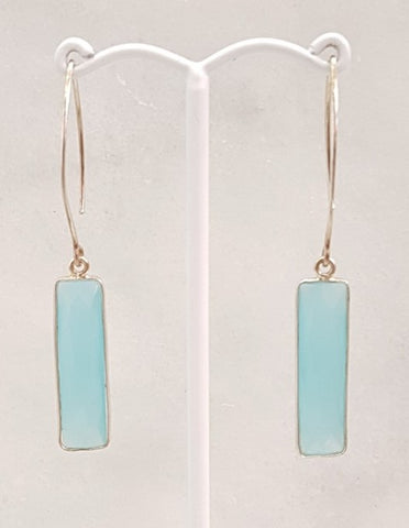 Seafom Chalcedony Single Gem Drop V-hook Earrings