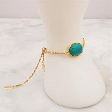 Teal Jade Leaf Back Jeweled Slider Bracelet