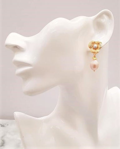 Textured Petals with Pearls Brass Stud Earrings