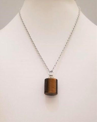 Tiger's Eye Square Essential Oil Bottle Pendant Silver