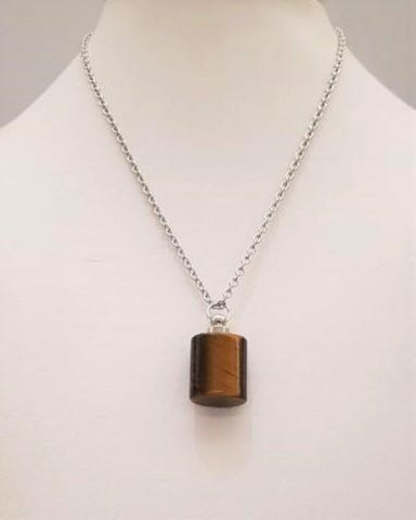 Tiger's Eye Square Wellness Bottle Pendant Silver