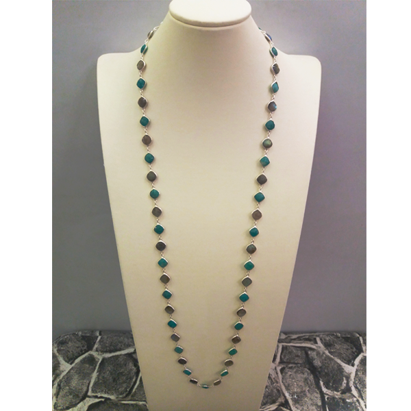Tigers Eye & Chalcedony Jeweled Chain Necklace